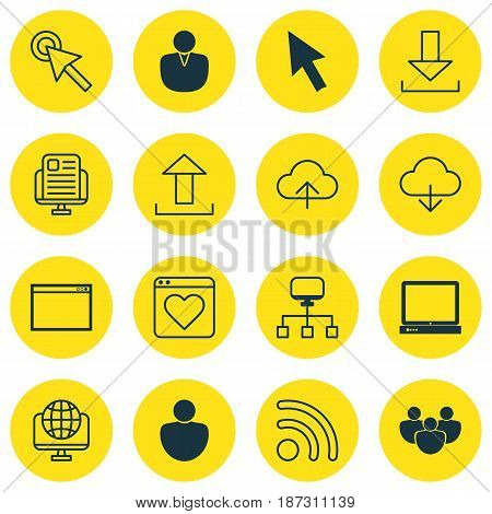 Set Of 16 Web Icons. Includes Program, Cursor Tap, Data Synchronize And Other Symbols. Beautiful Design Elements.