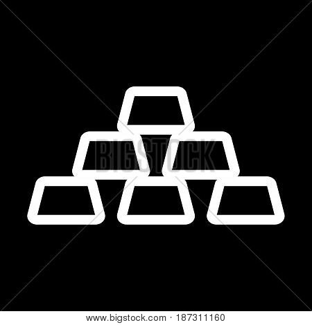 Golden bars vector icon. Black and white gold illustration. Outline linear money icon. eps 10