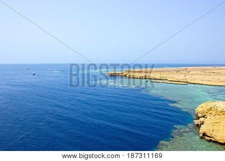Bay with blue water in Ras Muhammad National Park at Egypt