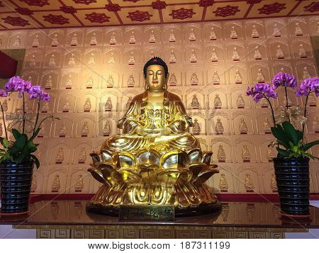 Golden Buddha At Chinese Temple In Taiwan