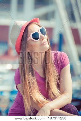 Happy Woman With Straw Hat And Sunglasses In Port With Yacht In Background, Summer Time Concept