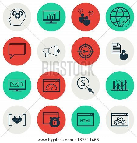 Set Of 16 SEO Icons. Includes Intellectual Process, Loading Speed, Security And Other Symbols. Beautiful Design Elements.
