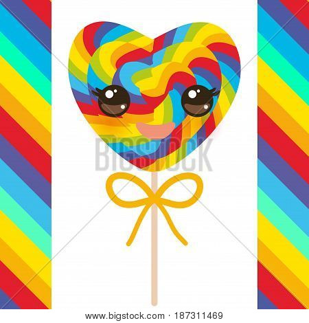 Kawaii Valentine's Day Heart shaped candy lollipops with bow, colorful spiral candy cane with bright rainbow stripes. on stick with twisted design on white background with rainbow stripes. Vector illustration