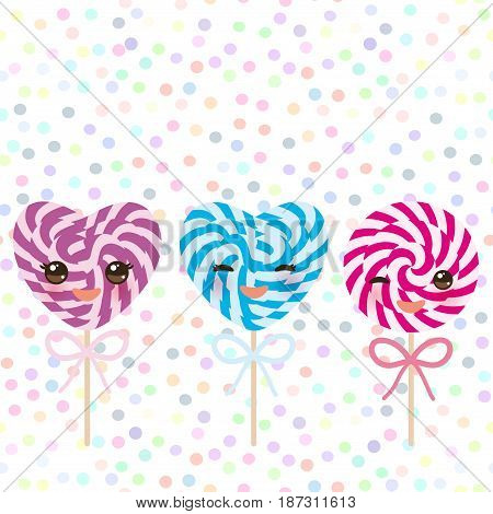 Kawaii colorful Set candy lollipops with bow, spiral candy cane. Candy on stick with twisted design with pink cheeks and winking eyes, pastel colors polka dot background. Vector illustration