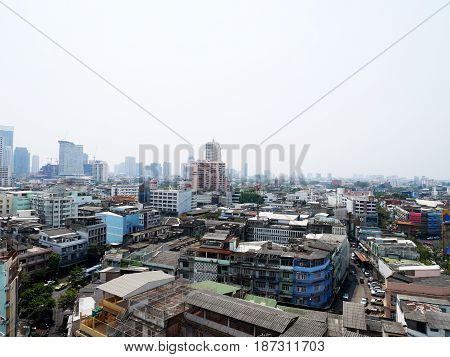Aerial View Of Landscape And Cityscape With Traffic Road At Hua Lamphong Of Bangkok City