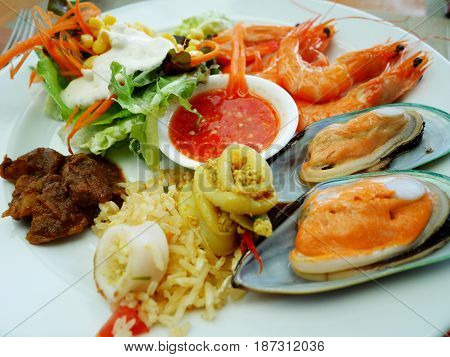 Food Buffet Service In Restaurant At Thailand