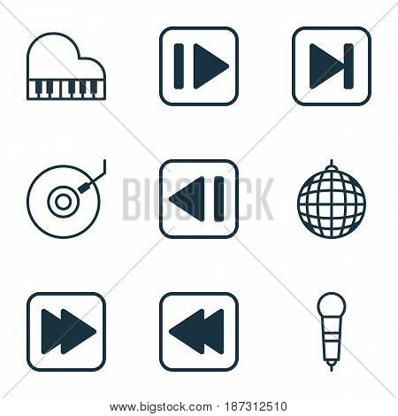 Set Of 9 Music Icons. Includes Gramophone, Rewind Back, Following Music And Other Symbols. Beautiful Design Elements.