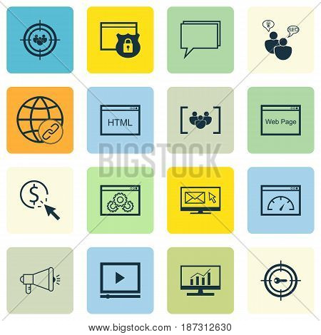 Set Of 16 Advertising Icons. Includes Media Campaign, Search Optimization, Connectivity And Other Symbols. Beautiful Design Elements.