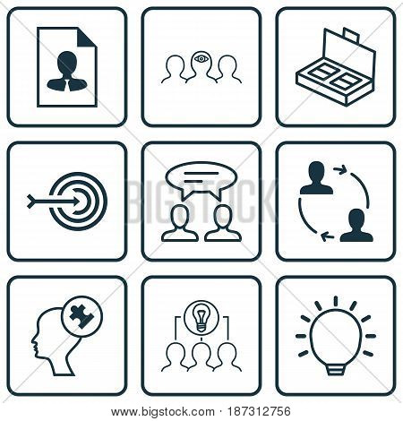 Set Of 9 Business Management Icons. Includes Dialogue, Cooperation, Collaborative Solution And Other Symbols. Beautiful Design Elements.