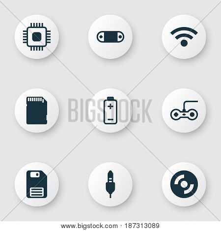 Set Of 9 Computer Hardware Icons. Includes Aux Cord, Joystick, Wireless And Other Symbols. Beautiful Design Elements.