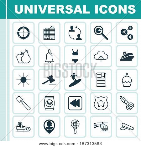 Set Of 25 Universal Editable Icons. Can Be Used For Web, Mobile And App Design. Includes Elements Such As Data Synchronize, Cop Symbol, Grains And More.