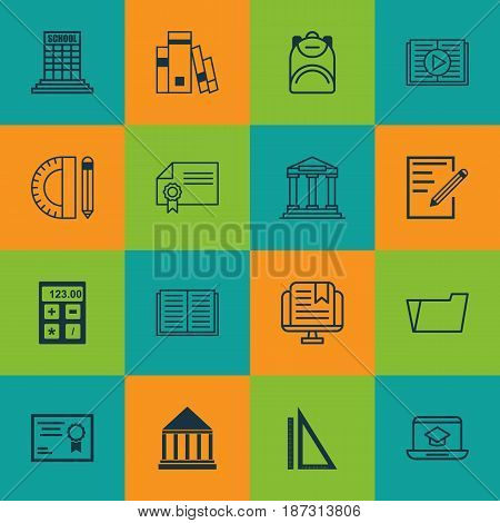 Set Of 16 School Icons. Includes College, Diploma, E-Study And Other Symbols. Beautiful Design Elements.