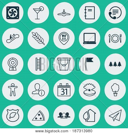 Set Of 25 Universal Editable Icons. Can Be Used For Web, Mobile And App Design. Includes Elements Such As PC, Pail, Plane And More.