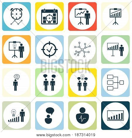 Set Of 16 Executive Icons. Includes Report Demonstration, Project Targets, Approved Target And Other Symbols. Beautiful Design Elements.