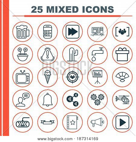 Set Of 25 Universal Editable Icons. Can Be Used For Web, Mobile And App Design. Includes Elements Such As Following Song, Calculation, Alert And More.