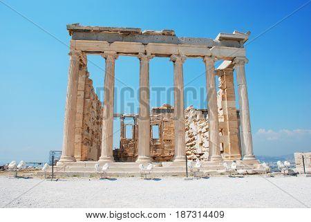 Ancient Erechteion Temple on the Acropolis in Athens Greece