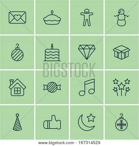 Set Of 16 Holiday Icons. Includes Brilliant, Tree Toy, Winter And Other Symbols. Beautiful Design Elements.