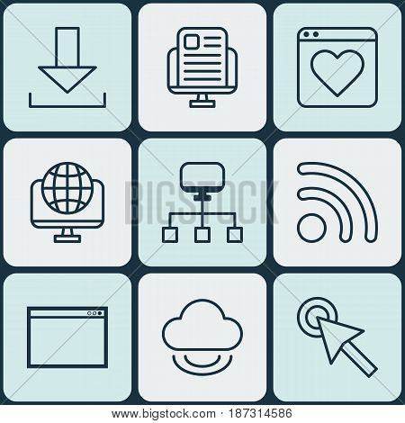 Set Of 9 Online Connection Icons. Includes Computer Network, Program, Login And Other Symbols. Beautiful Design Elements.