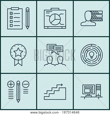 Set Of 9 Project Management Icons. Includes Growth, Innovation, Personal Skills And Other Symbols. Beautiful Design Elements.