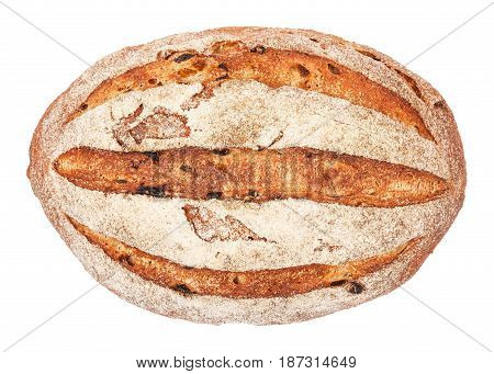 Freshly baked rustic bread isolated on white background closeup. Homemade wheat bread with bran top view