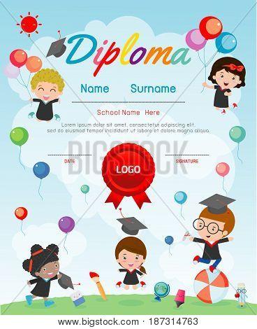 Certificate kids diploma, kindergarten template layout space background frame design vector. Diploma template for kindergarten students, education preschool concept.