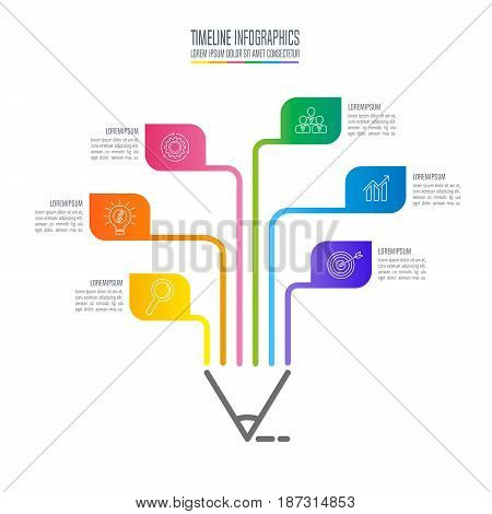 Education Infographics Template 6 Step Option. Timeline Infographic Design Vector.