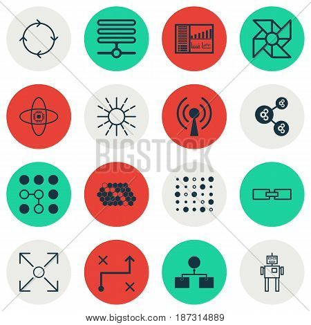 Set Of 16 Artificial Intelligence Icons. Includes Cyborg, Hive Pattern, Controlling Board And Other Symbols. Beautiful Design Elements.