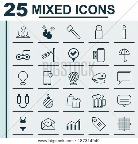 Set Of 25 Universal Editable Icons. Can Be Used For Web, Mobile And App Design. Includes Elements Such As Map Pointer, Jug, Video Surveillance And More.