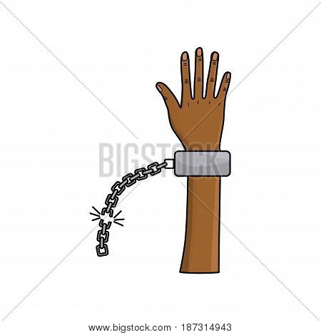 cute hand up with metallic chain, vector illustration