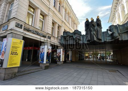 VILNIUS - MAY 20: Lithuanian National Drama Theatre on May 20 2017 in Vilnius Lithuania. Drama Theatre Located on Gediminas Avenue in Vilnius.