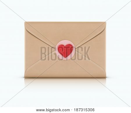 Vector illustration of love letter concept with closed envelope and little red heart on it