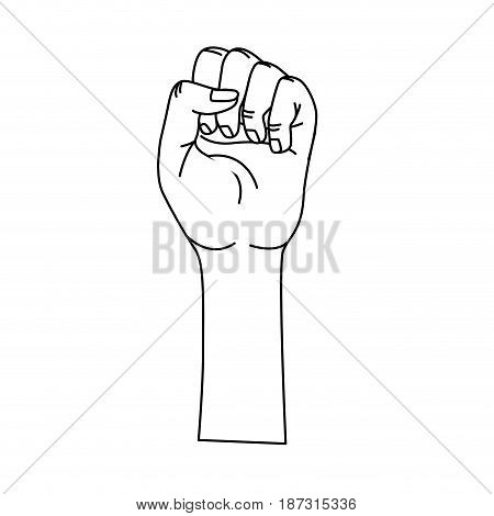 line nice hands fist up celebrating, vector illustration