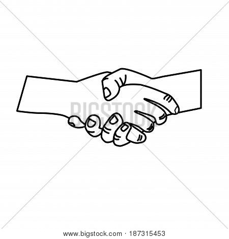 line nice hands together like friendship symbol, vector illustration