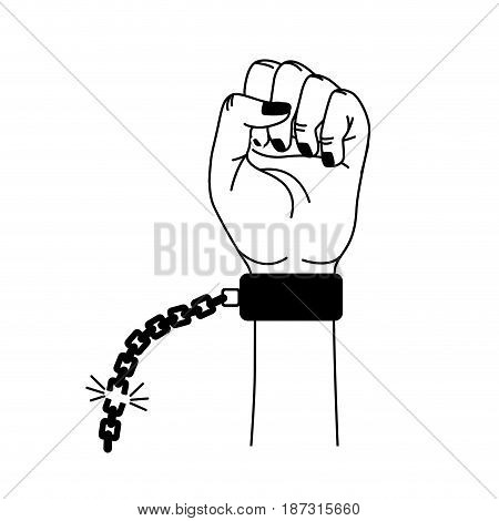 line nice hands fist up with metallic chain, vector illustration