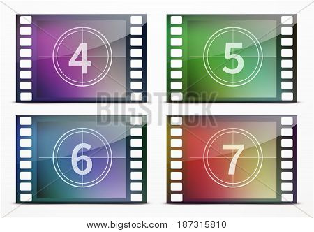 Vector illustration of film screen countdown backgrounds