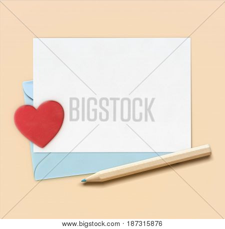 Vector illustration of love letter concept with little wooden pencil blue envelope and white paper with big red heart