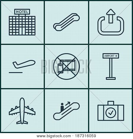 Set Of 9 Travel Icons. Includes Exit, Airplane Information, Resort Development And Other Symbols. Beautiful Design Elements.