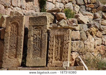 Khachkar (cross Stone), Medieval Noravank Monastery Complex In Amaghu Valley, Armenia