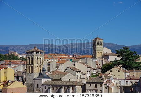 Cityscape With Roofs And Towers Of Historic City Segovia, Castilla Y Leon, Spain