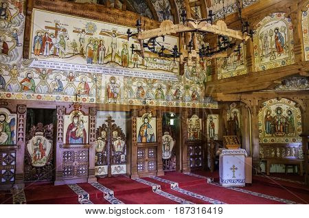 Barsana, Romania - May 1, 2014: Interior of wooden church of Barsana monastery. Maramures region