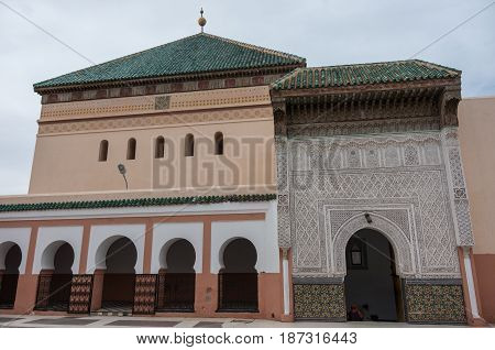 Courtyard Of Mosque Zaouia De Sidi Bel Abbes In Marrakech Medina, Morocco