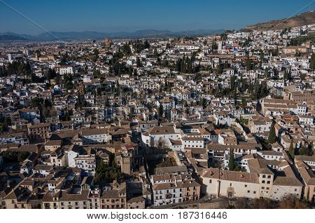 Cityscape. Panorama View Of Granada Old City From Tower Of Alhambra Palace. Granada, Spain.