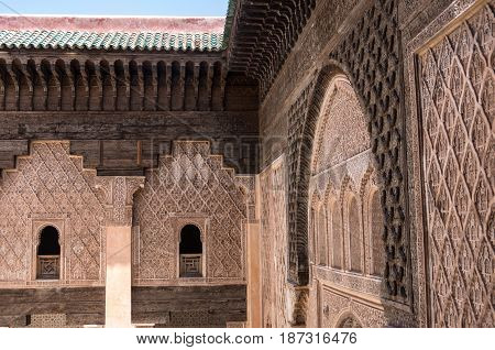 Carving Of Wood And Stone Detail. Medersa Of Ben Youssef, Marrakech,morocco