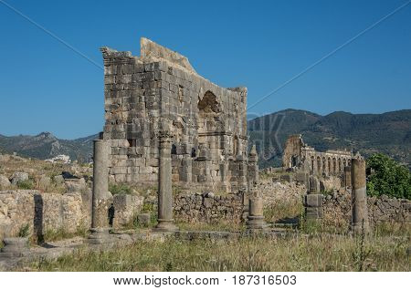 Roman Ruins In Volubilis, Meknes Tafilalet, Morocco