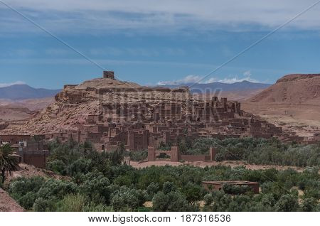 Panorama Of Kasbah Ait Ben Haddou In The Atlas Mountains Of Morocco. Medieval Fortification City, Un