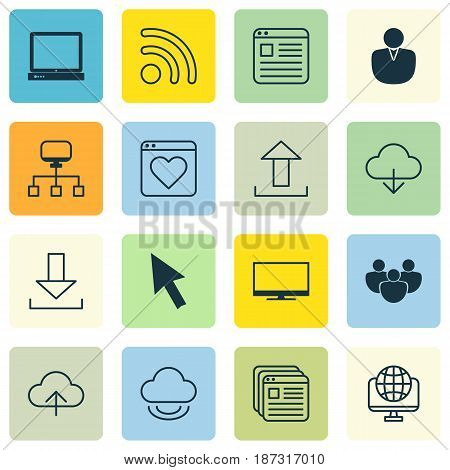 Set Of 16 Online Connection Icons. Includes Team, Website Page, Virtual Storage And Other Symbols. Beautiful Design Elements.