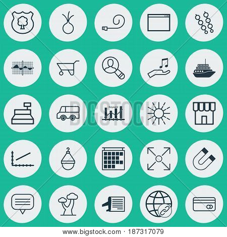 Set Of 25 Universal Editable Icons. Can Be Used For Web, Mobile And App Design. Includes Elements Such As Program, Till, Celebrate Whistle And More.