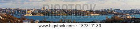 Panorama of the city Sevastopol top view