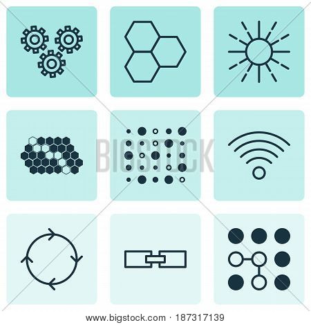 Set Of 9 Robotics Icons. Includes Variable Architecture, Information Components, Mechanism Parts And Other Symbols. Beautiful Design Elements.