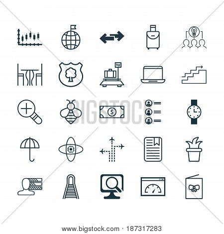 Set Of 25 Universal Editable Icons. Can Be Used For Web, Mobile And App Design. Includes Elements Such As Atomic Cpu, Trip Handbag, Notebook.